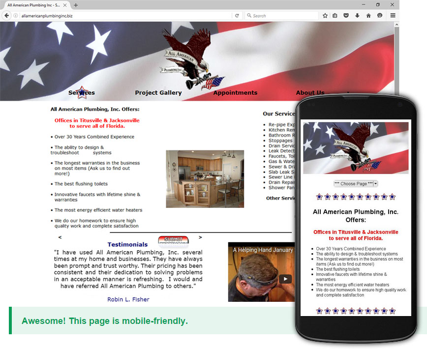 Created Mobile Friendly site for Titusville Plumbing Company All American Plumbing Inc.