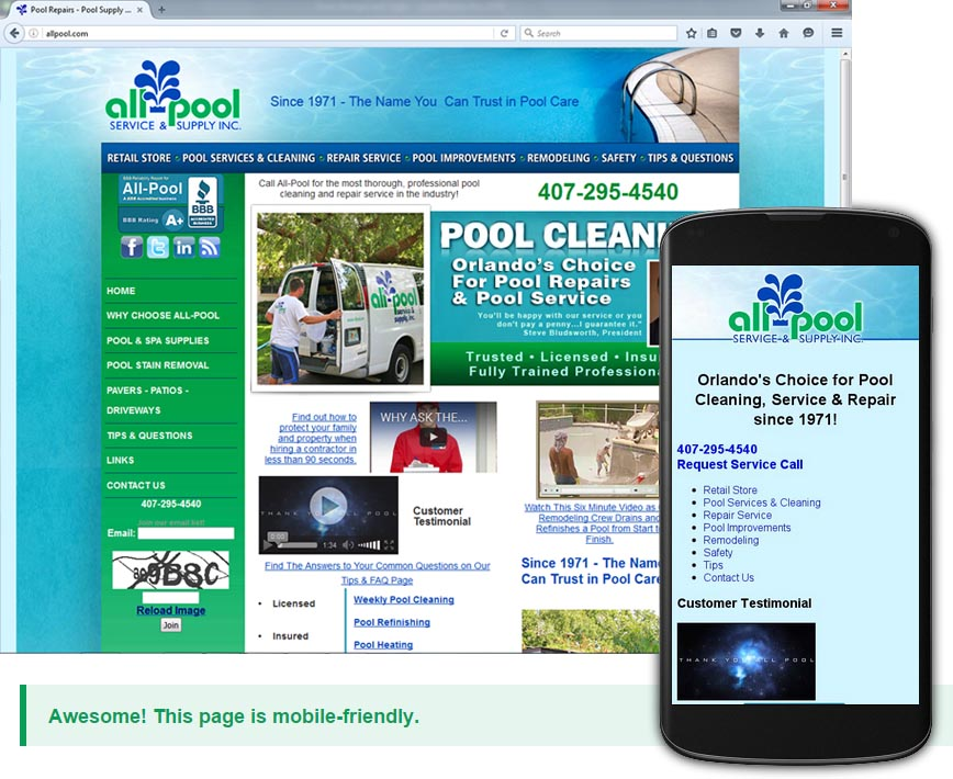 Creating Mobile Pages for my customer AllPool.com