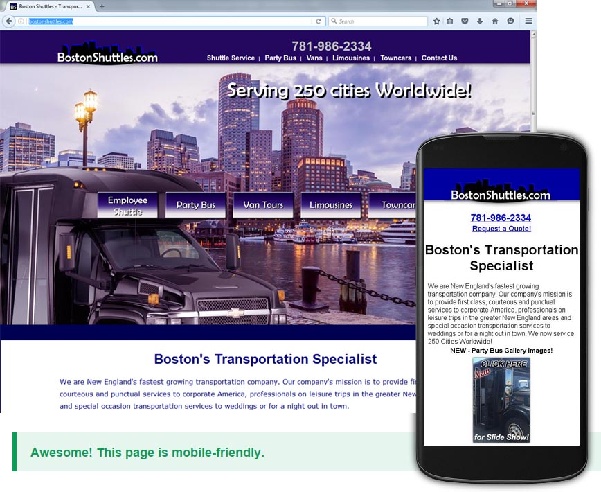 Creating Mobile Pages for my Customer BostonShuttles.com