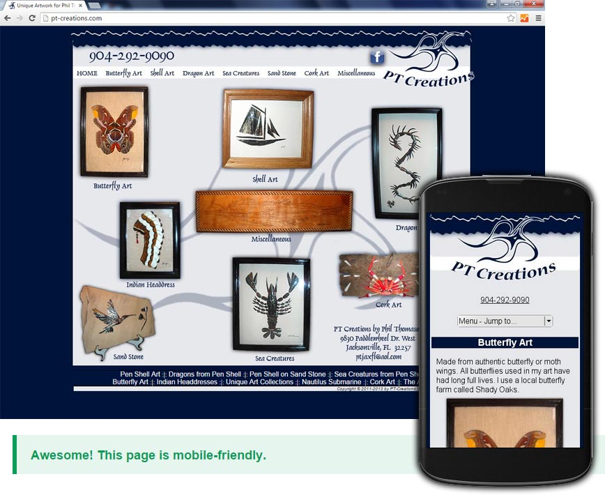 Mobile Friendly Site Creation for Pt-Creations.com